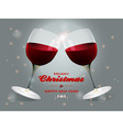 Christmas wine glasses background vector image vector image