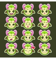 Funny cartoon green monster emotions vector image