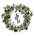 Watercolor forest wreath vector image