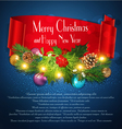 Blue Christmas background with garlandred ribbon vector image