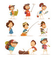 camping kids icons set vector image