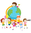 Children and the globe vector image