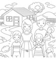 family standing front their home in doodle style vector image