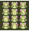 Funny cartoon green monster emotions vector image