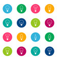 set of bulb icons on color background vector image