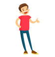 teenage boy laughing and gesturing with his hands vector image