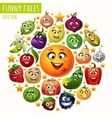 The circle of fruits and vegetables funny faces vector image