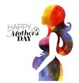 Waterolor beautiful pregnant woman vector image