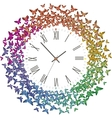 Clock with many multicolored butterflies flying vector image