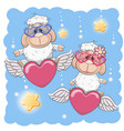 cute lovers sheep vector image