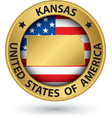 Kansas state gold label with state map vector image vector image