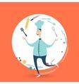 Chefcook juggles utensils vector image vector image