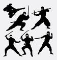 Ninja japanese warrior silhouettes vector image