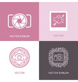 set of wedding photography logo design templates vector image vector image