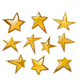 Glossy gold and yellow stars vector image