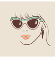 Beautiful woman in glasses with earring vector image