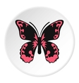 Pink butterfly icon flat style vector image