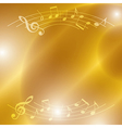 bright music background with notes and lights vector image