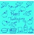 Thanksgiving doodles pumpkin chicken vector image