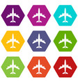 airplane icon set color hexahedron vector image