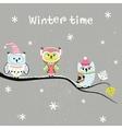 Card design with cartoon owls vector image