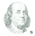 franklin portrait with dollar simbols vector image