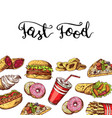 hand drawn fast food elements vector image