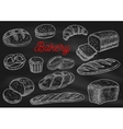 Bakery products chalk sketches on blackboard vector image