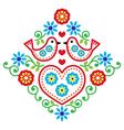 Folk art floral pattern with birds vector image