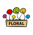 logo multicolored flowers in a pot vector image
