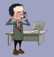 cartoon man talking on the phone standing vector image