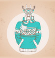 retro hipster fashion animal giraffe vector image