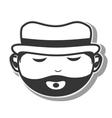 face man hat beard closed eyes vector image