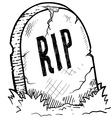 doodle tombstone rip headstone vector image