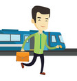 business man at train station vector image vector image