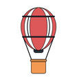 color image red striped hot air balloon with vector image