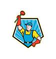 Super Plumber Wielding Plunger Pentagon Cartoon vector image vector image
