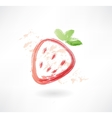 strawberry grunge icon vector image vector image