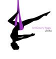 Anti-gravity yoga poses woman silhouette vector image vector image