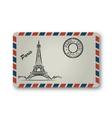 Letter from Paris with the Eiffel Tower painted vector image