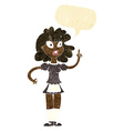 cartoon worried maid with speech bubble vector image