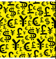 Black currency signs usd pound euro and yen On vector image