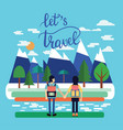 couple of traveler with backpacks standing and vector image