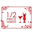 drinks floral red background vector image