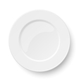Empty classic white plate isolated on white vector image