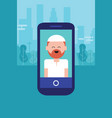 islam face people character man on phone arabic vector image