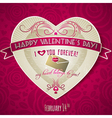 red valentines day greeting card with red heart vector image