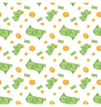 Seamless pattern of money bills and coins vector image