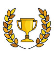 trophy cup with wreath award icon vector image