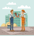 workers with tool on cityscape cartoon vector image